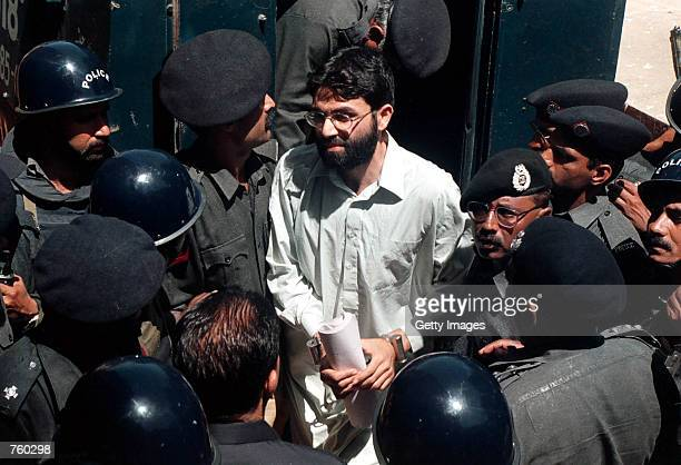 Ahmed Omar Saeed Sheikh, the alleged mastermind behind Wall Street Journal reporter Daniel Pearl's abduction, arrives March 29, 2002 at the...