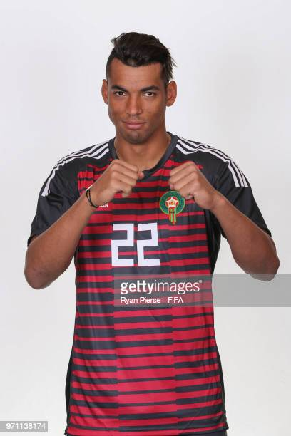 Ahmed Reda Tagnaouti of Morocco poses during the official FIFA World Cup 2018 portrait session on June 10 2018 in Voronezh Russia