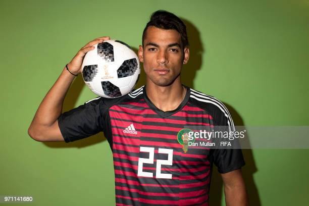 Ahmed Reda Tagnaouti of Morocco poses for a portrait during the official FIFA World Cup 2018 portrait session at on June 10 2018 in Voronezh Russia