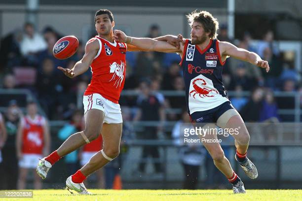 Ahmed Saad of the Bullants and Danny Nicholls of the Scorpions contest the ball during the round 22 VFL match between the Casey Scorpions and the...