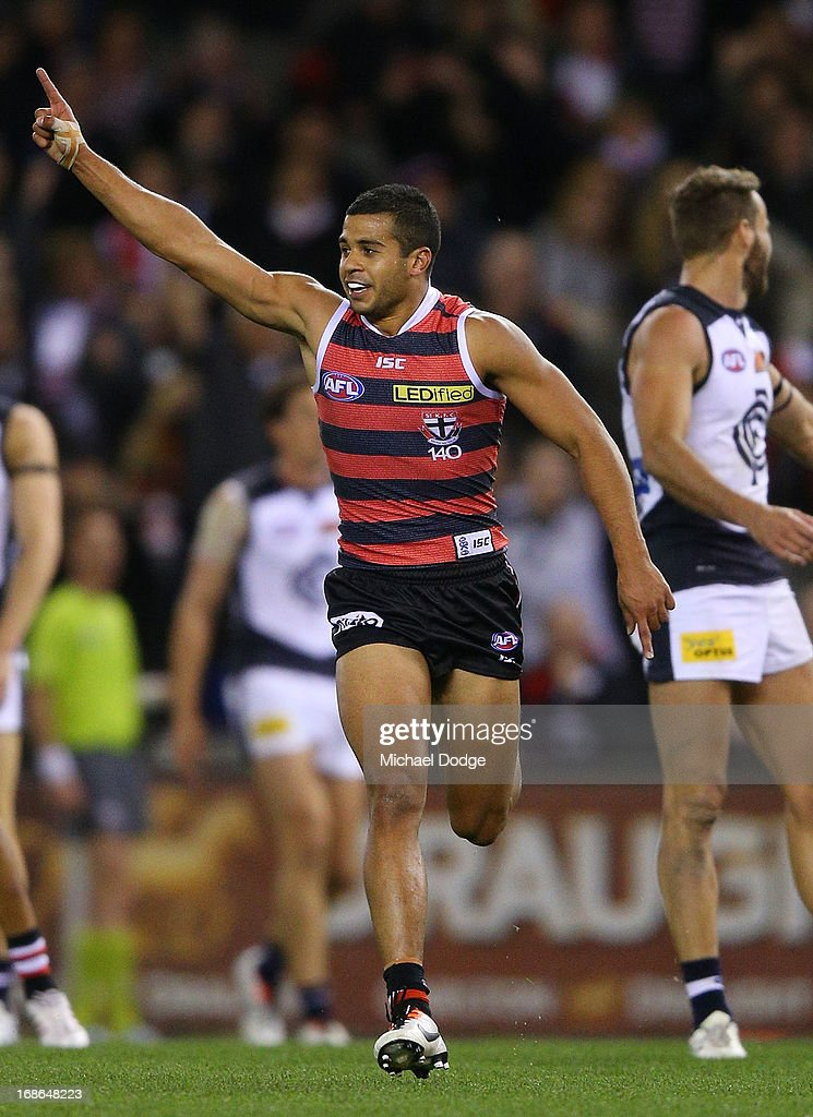 Ahmed Saad of the Saints celebrates a goal during the round seven AFL match between the St Kilda Saints and the Carlton Blues at Etihad Stadium on May 13, 2013 in Melbourne, Australia.