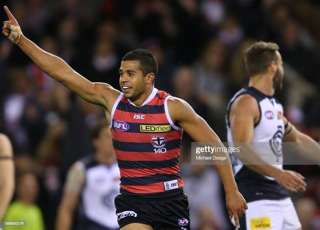 Ahmed Saad of the Saints celebrates the goal that sealed the win during the round seven AFL match between the St Kilda Saints and the Carlton Blues at Etihad Stadium on May 13, 2013 in Melbourne, Australia.