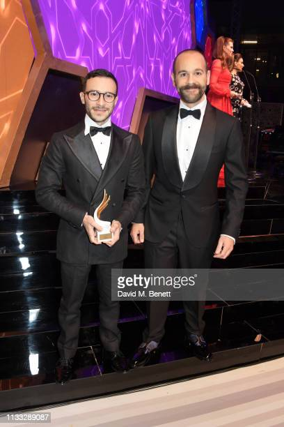 Ahmed Sabry and Daki Marouf of Sabry Marouf winners of the Accessories award attend the Fashion Trust Arabia Prize awards ceremony on March 28 2019...