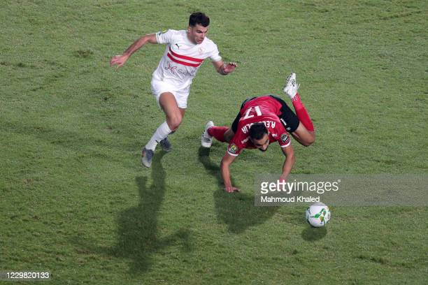 Ahmed Sayed Zizo of Zamalek in action against Amro Elsulia of Al Ahly during CAF Champions League Final between Zamalek and Al Ahly at Cairo stadium...