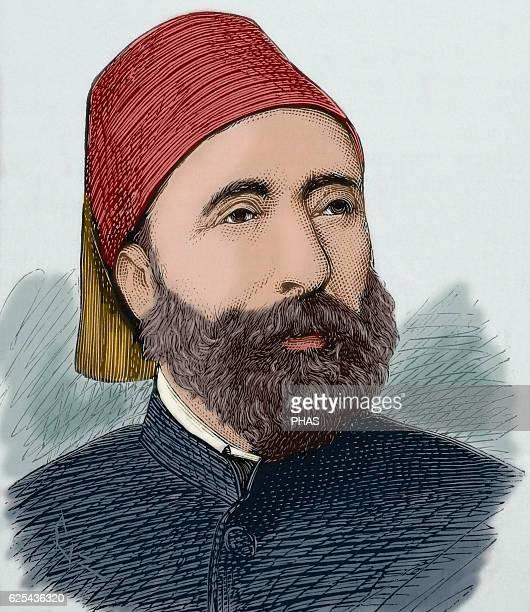 Ahmed Sefik Midhat Pasha Ottoman statesman during the late Tanzimat era Grand Vizier of the Ottoman Empire Portrait engraving by Capuz in La...