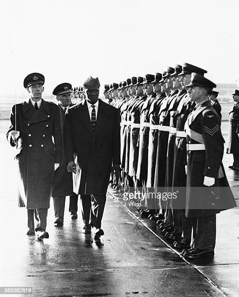 Ahmed Sekou Toure the President of Guinea inspects a Guard of Honor after arriving at London Airport November 10th 1959