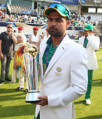 ahmed shahzad pakistan with trophyduring icc