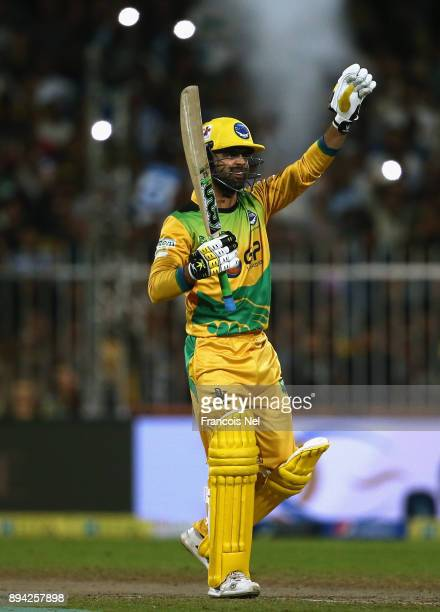Ahmed Shehzad of Pakhtoons signals during the semi final T10 match between Pakhtoons and Punjabi Legends at Sharjah Cricket Stadium on December 17...
