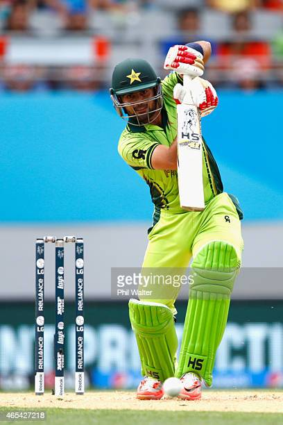 Ahmed Shehzad of Pakistan bats during the 2015 ICC Cricket World Cup match between South Africa and Pakistan at Eden Park on March 7 2015 in Auckland...