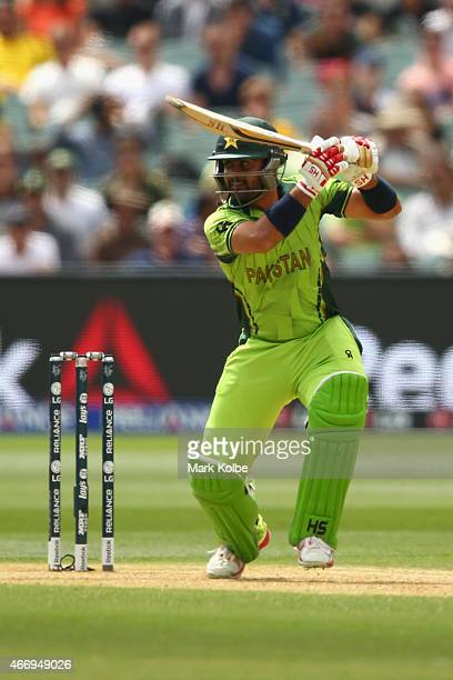 Ahmed Shehzad of Pakistan bats during the 2015 ICC Cricket World Cup match between Australian and Pakistan at Adelaide Oval on March 20 2015 in...