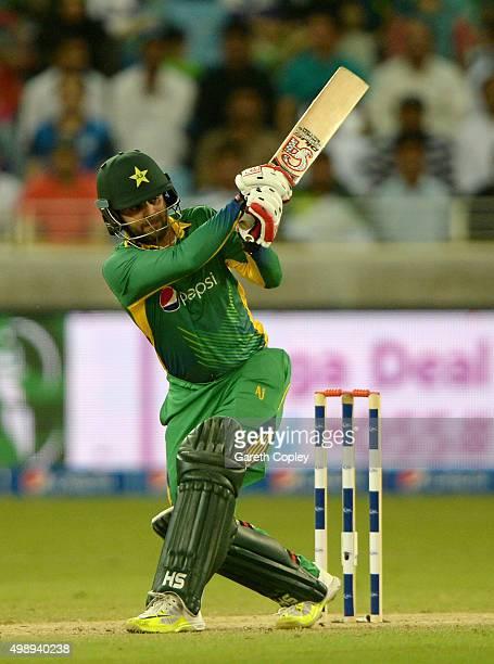 Ahmed Shehzad of Pakistan bats during the 2nd International T20 between Pakistan and England at Dubai Cricket Stadium on November 27 2015 in Dubai...