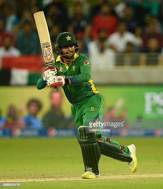 Ahmed Shehzad of Pakistan bats during the 2nd International T20 between Pakistan and England at Dubai Cricket Stadium on November 27 2015 in Dubai...