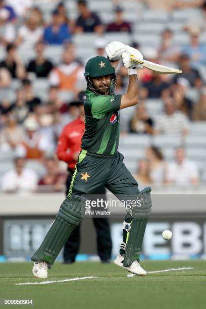 Ahmed Shehzad of Pakistan bats during the International Twenty20 match between New Zealand and Pakistan at Eden Park on January 25 2018 in Auckland...