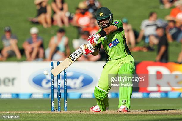 Ahmed Shehzad of Pakistan bats during the One Day International match between New Zealand and Pakistan at McLean Park on February 3 2015 in Napier...