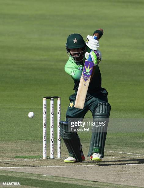 Ahmed Shehzad of Pakistan bats during the second One Day International match between Pakistan and Sri Lanka at Zayed Cricket Stadium on October 16...