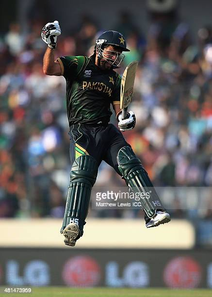 Ahmed Shehzad of Pakistan celebrates his century during the ICC World Twenty20 Bangladesh 2014 match between Pakistan and Bangladesh at ShereBangla...