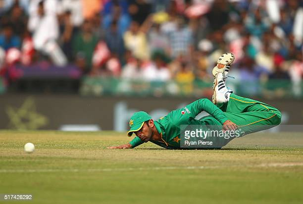Ahmed Shehzad of Pakistan fields during the ICC WT20 India Group 2 match between Pakistan and Australia at IS Bindra Stadium on March 25 2016 in...