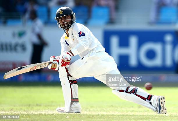 Ahmed Shehzad of Pakistan in action during day four of the First Test between Pakistan and Australia at Dubai International Stadium at Dubai...