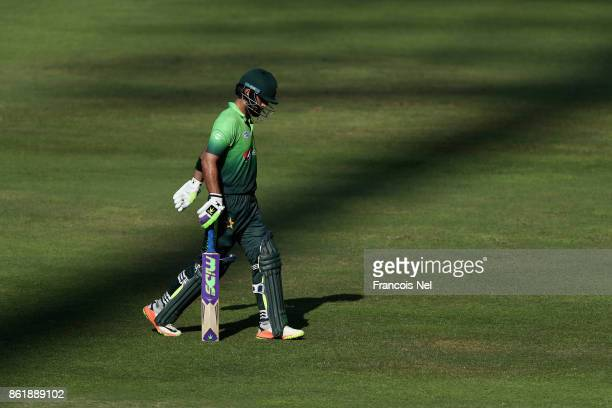 Ahmed Shehzad of Pakistan leaves the field after being dismissed during the second One Day International match between Pakistan and Sri Lanka at...