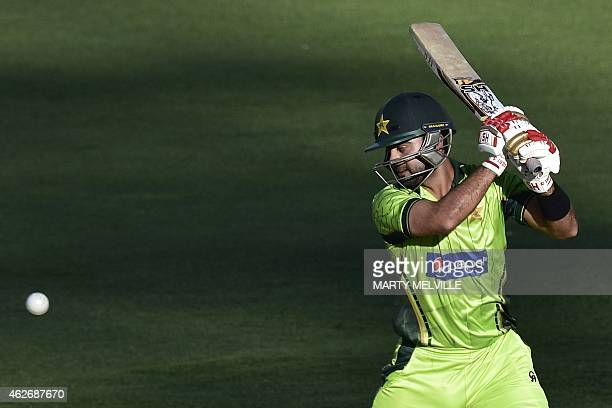 Ahmed Shehzad of Pakistan plays a shot during the second oneday international cricket match between New Zealand and Pakistan at McLean Park in Napier...