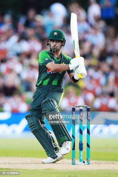Ahmed Shehzad of Pakistan pulls the ball away for four runs during game three of the International Twenty20 match between New Zealand and Pakistan at...