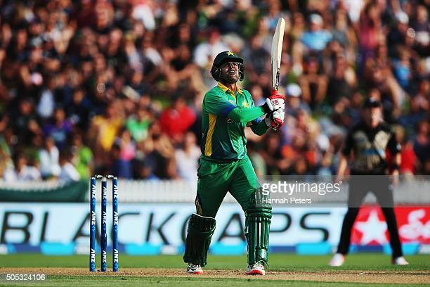 Ahmed Shehzad of Pakistan puls the ball away during the International Twenty20 match between New Zealand and Pakistan at Seddon Park on January 17...