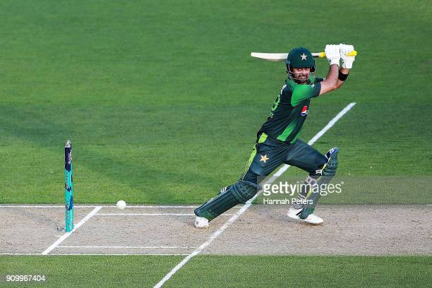Ahmed Shehzad of Pakistsn cuts the ball away for four runs during the International Twenty20 match between New Zealand and Pakistan at Eden Park on...