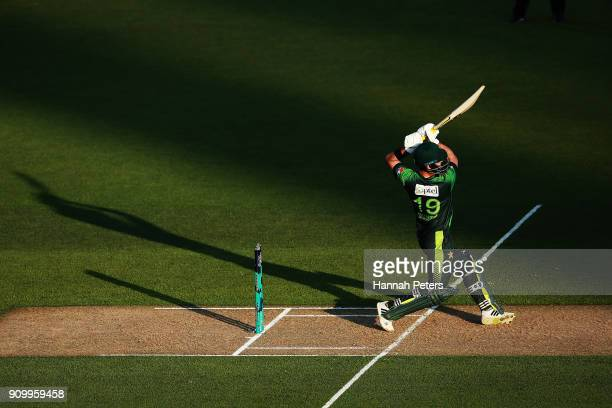 Ahmed Shehzad of Pakistsn pulls the ball away for four runs during the International Twenty20 match between New Zealand and Pakistan at Eden Park on...