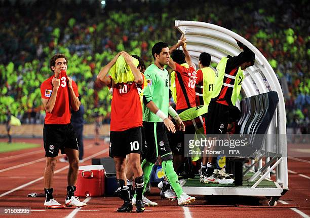 Ahmed Shoukri and Hesham Mohamed of Egypt look dejected during the FIFA U20 World Cup Round of 16 match between Egypt and Costa Rica at the Cairo...