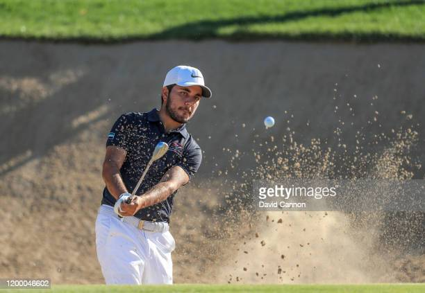 Ahmed Skaik of the United Arab Emirates plays his fourth shot on the second hole during the second round of the Abu Dhabi HSBC Championship at Abu...