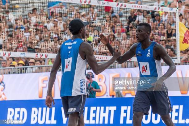 Ahmed Tijan of Qatar and Cherif Younousse of Qatar during celebrate after scoring during the bronze medal match between Alexander Brouwer and Robert...