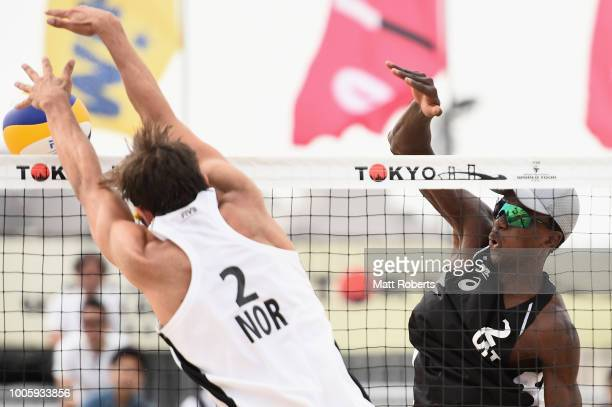 Ahmed Tijan of Qatar competes during the Men's Round 2 match between Cherif Younousse and Ahmed Tijan of Qater and Hendrik Nikolai Mol and MAthias...
