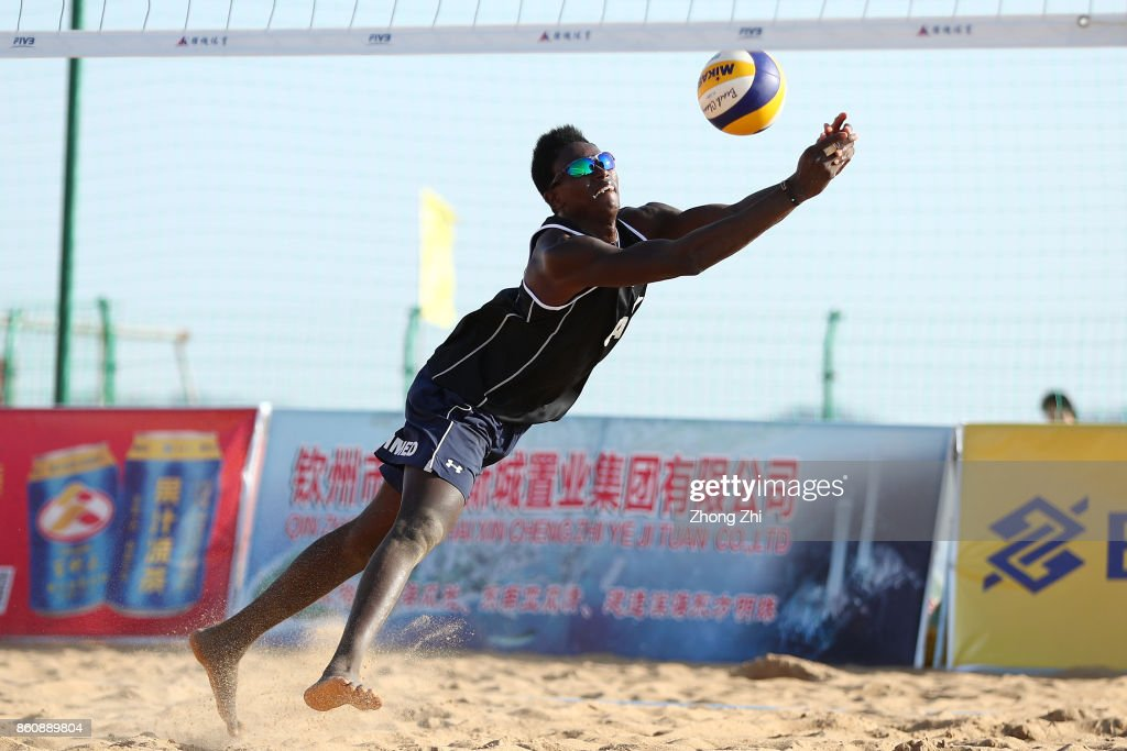 Ahmed Tijan of Qatar in action with Cesar Do Nascimento Junior Julio of Qatar during the match against Lazar Kolaric and Djordje Klasnic of Serbia on Day 3 of 2017 FIVB Beach Volleyball World Tour Qinzhou Open on October 13, 2017 in Qinzhou, China.