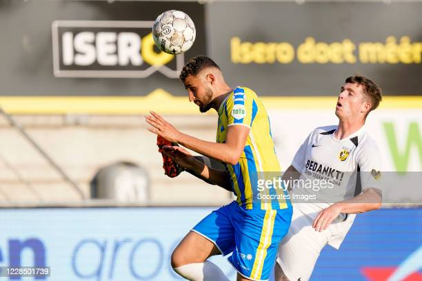 Ahmed Touba of RKC Waalwijk, Thomas Buitink of Vitesse during the Dutch Eredivisie match between RKC Waalwijk v Vitesse at the Mandemakers Stadium on...