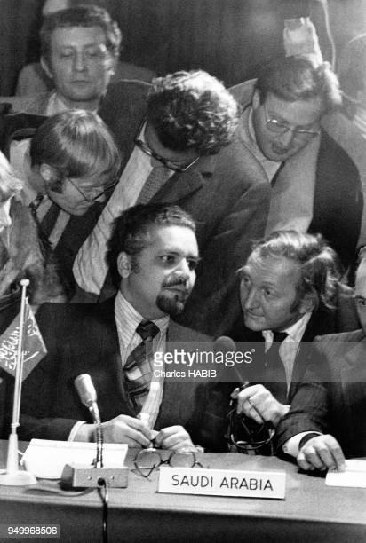 Ahmed Zaki Yamani reprrésente l'Arabie Saoudite à la conférence de l'OPEP LE 7 janvier 1974 à Genève Suisse