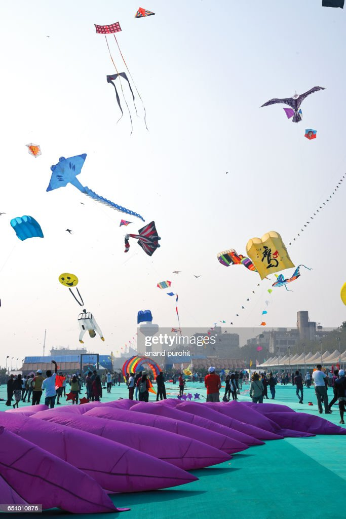 Ahmedabad, India – January  08, 2017: International Kite Festival, Sabarmati Riverfront. Kite flyers from all over the world came to participate & displays the kites and kite-flying skills on sabarmati riverfront every year in January. : Stock Photo