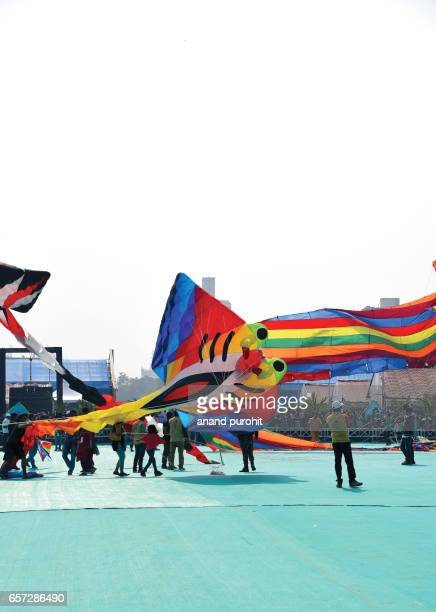 Ahmedabad, India – January  08, 2017: International Kite Festival, Sabarmati Riverfront. Kite flyers from all over the world came to participate & displays the kites and kite-flying skills on sabarmati riverfront every year in January.