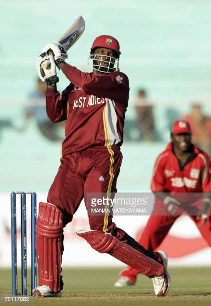 West Indies cricketer Chris Gayle plays a shot during the second qualifying match between Zimbabwe and West Indies at The Sardar Patel Stadium in...