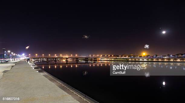 ahmedabad sabarmati riverfront seen at new year night with fireworks displayed - ahmedabad stock pictures, royalty-free photos & images