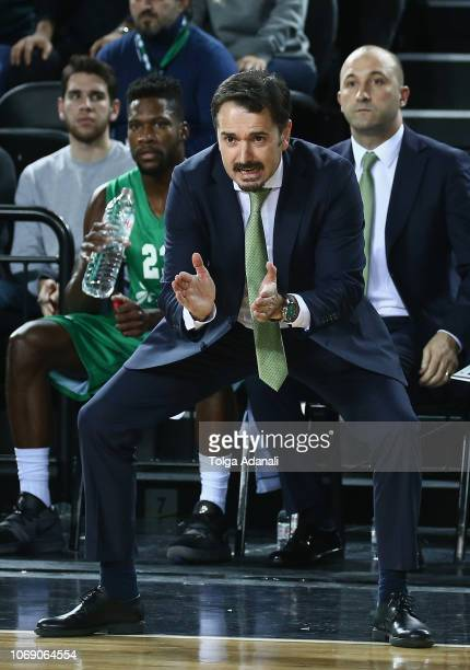 Ahmet Caki Head Coach of Darussafaka Tekfen in action during the 2018/2019 Turkish Airlines EuroLeague Regular Season Round 11 game between...