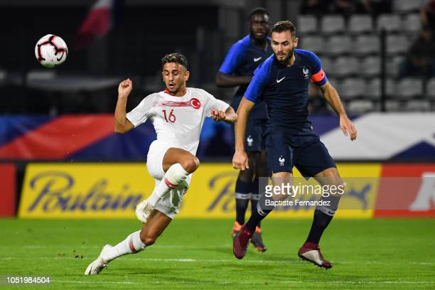 Ahmet Canbaz of Turkey and Lucas Tousart of France during the International U21 Football Friendly match between France and Turkey on October 12 2018...