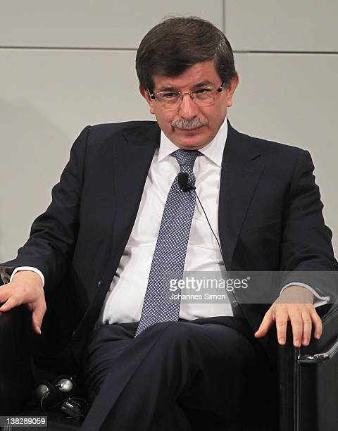 Ahmet Davutoglu Turkish minister of foreign affairs participates in a panel discussion during day 3 of the 48th Munich Security Conference at Hotel...