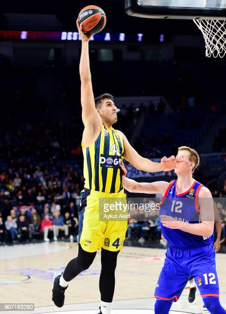 Ahmet Duverioglu #44 of Fenerbahce Dogus Istanbul competes with Brock Motum #12 of Anadolu Efes Istanbul during the 2017/2018 Turkish Airlines...