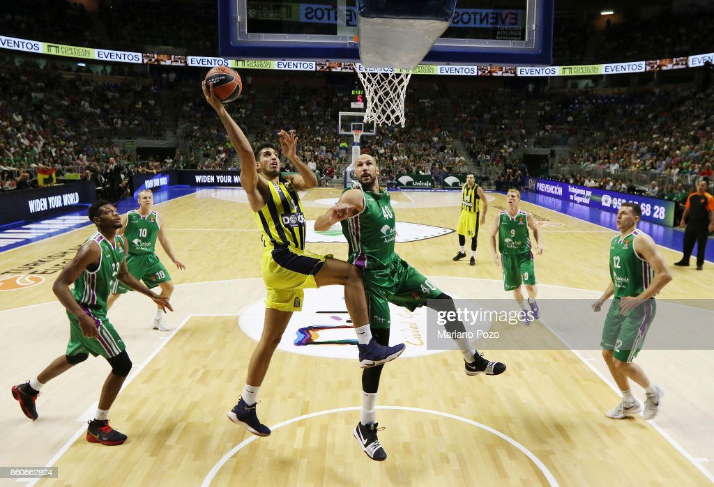 Ahmet Duverioglu, #44 of Fenerbahce Dogus Istanbul in action during the 2017/2018 Turkish Airlines EuroLeague Regular Season Round 1 game between Unicaja Malaga v Fenerbahce Dogus Istanbul at Martin Carpena Arena on October 12, 2017 in Malaga, Spain.