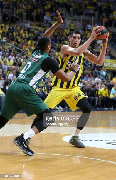 Ahmet Duverioglu of Fenerbahce Beko in action against Davies Brandon of Zalgiris during Turkish Airlines Euroleague playoff quarter final first...