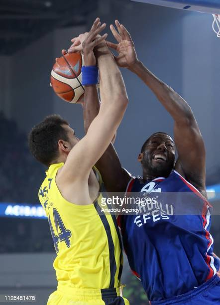 Ahmet Duverioglu of Fenerbahce Beko in action against Dunston of Anadolu Efes during Turkish Cup final basketball match between Fenerbahce Beko and...