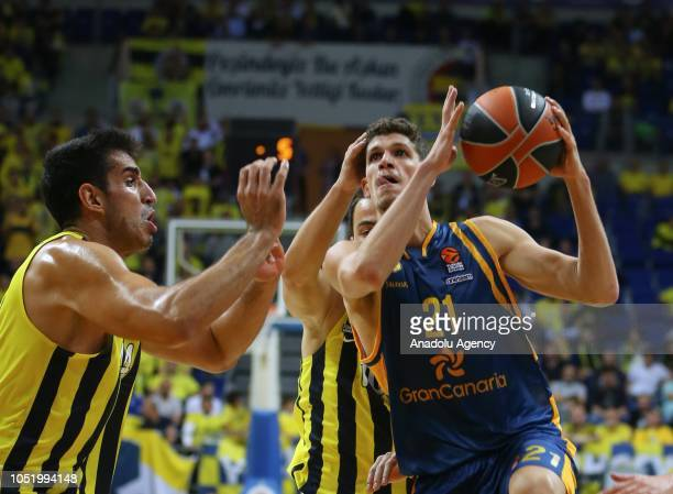 Ahmet Duverioglu of Fenerbahce in action against Oriol Pauli of Herbalife Gran Canaria during Turkish Airlines Euroleague match between Fenerbahce...