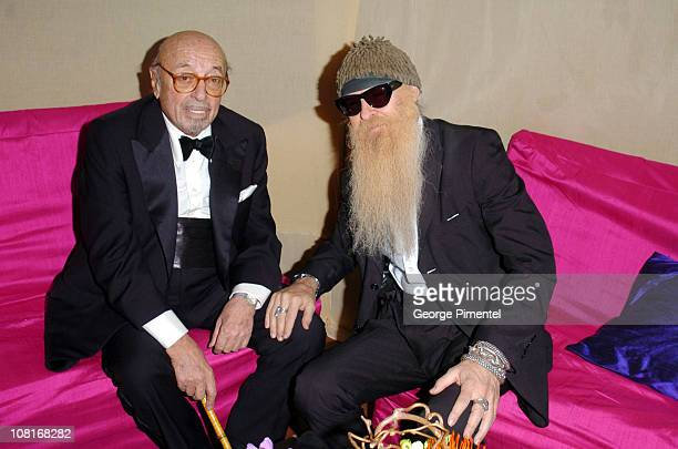 Ahmet Ertegun and Billy Gibbons of ZZ Top during Atlantic Records at Warner Music Group 2005 After GRAMMY Awards Party at Pacific Design Center in...