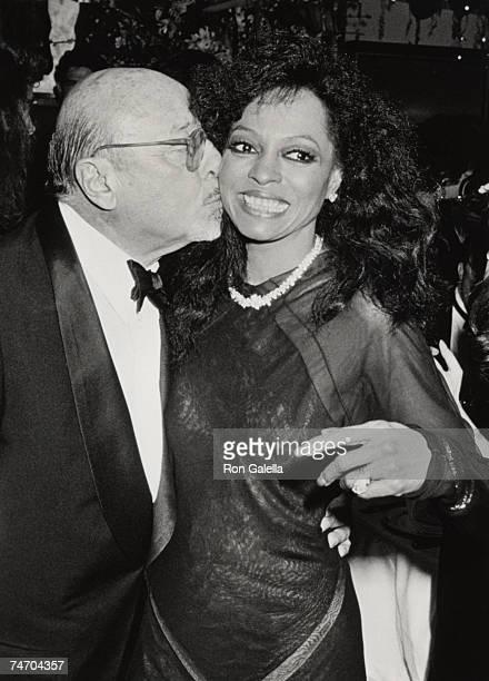 Ahmet Ertegun and Diana Ross at the Spago in Hollywood California