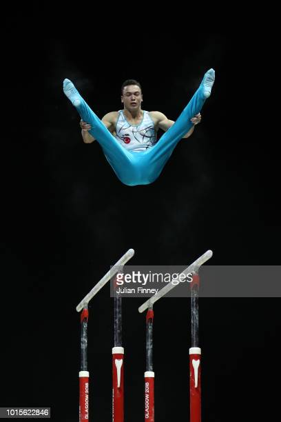 Ahmet Onder of Turkey competes in Parallel Bars during the Men's Gymnastics Final on Day Eleven of the European Championships Glasgow 2018 at The SSE...